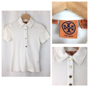 Tory Burch Polo Gold Button Solid White